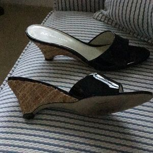 Anne Klein Patent Leather Basketweave Heels